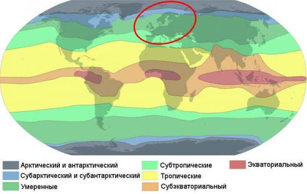Який клімат в Європі? Опис, типи, карта і таблиця
