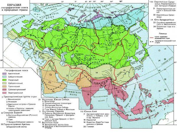 Який клімат в Євразії? Опис, типи, карта і таблиця
